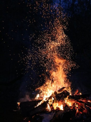 A bonfire and the night sky