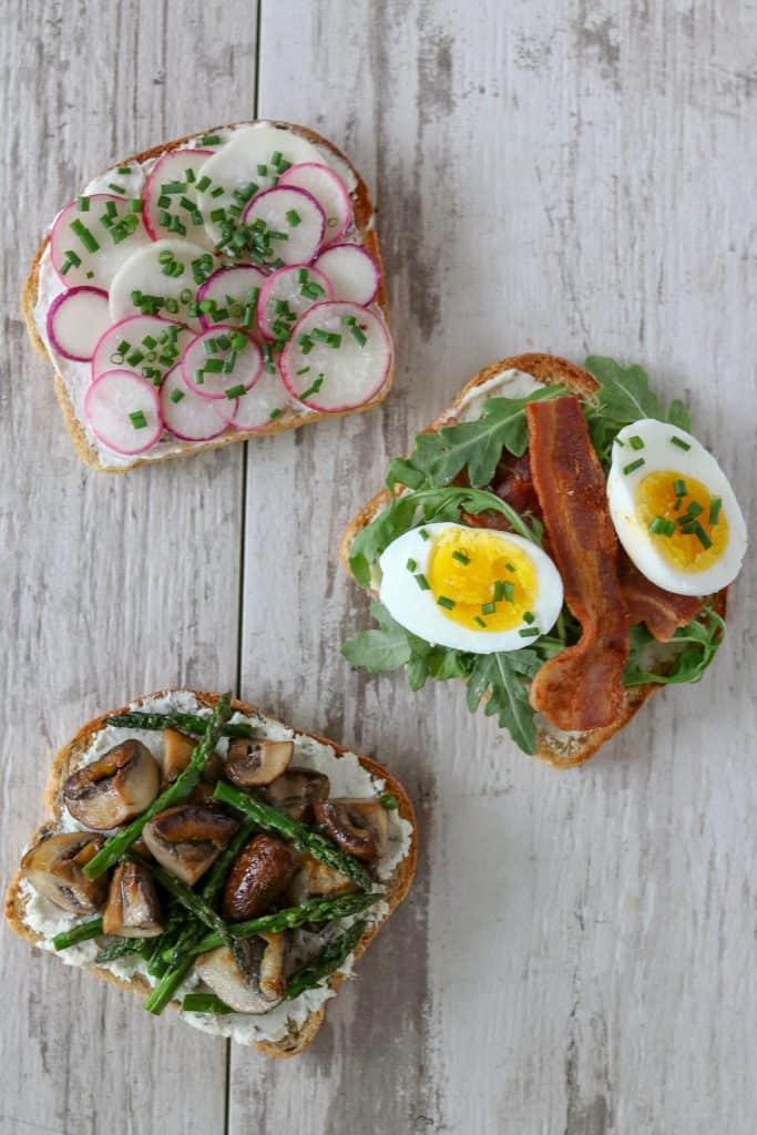 Spring smørrebrød on Ricotta Chive Bread