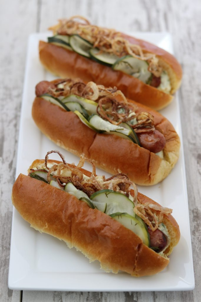 Danish Hot Dogs on White Plate