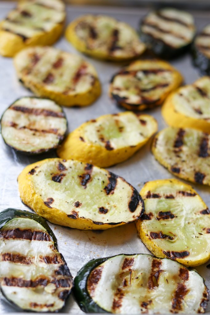 A close up of grilled squash