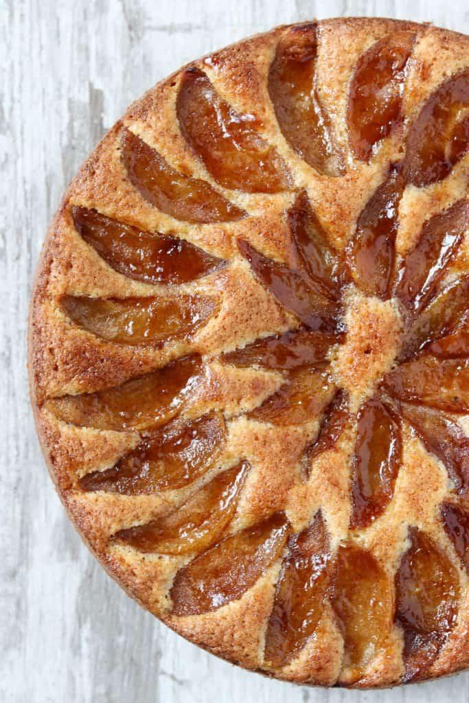 A close up of a Swedish apple cake