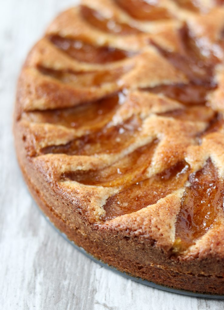 A close up of a Swedish apple cake