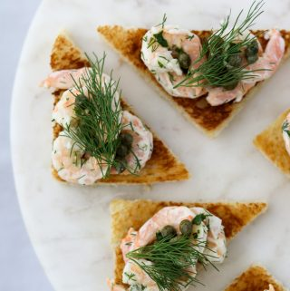 Toast Skagen with Caper Relish