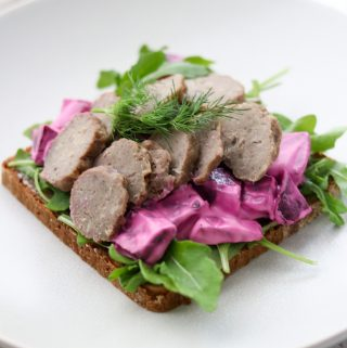 Swedish Meatball Smørrebrød with Creamy Pickled Beet Salad