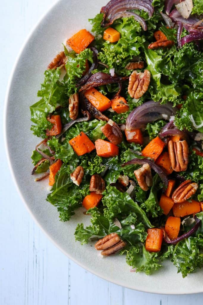 Kale Salad with Roasted Butternut Squash and Pecans