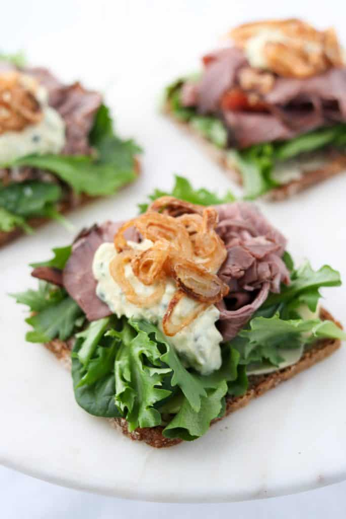Roast Beef Smørrebrød with Danish Remoulade and Crispy Shallots