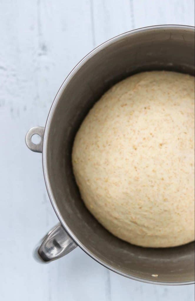 Bread dough rising in a bowl