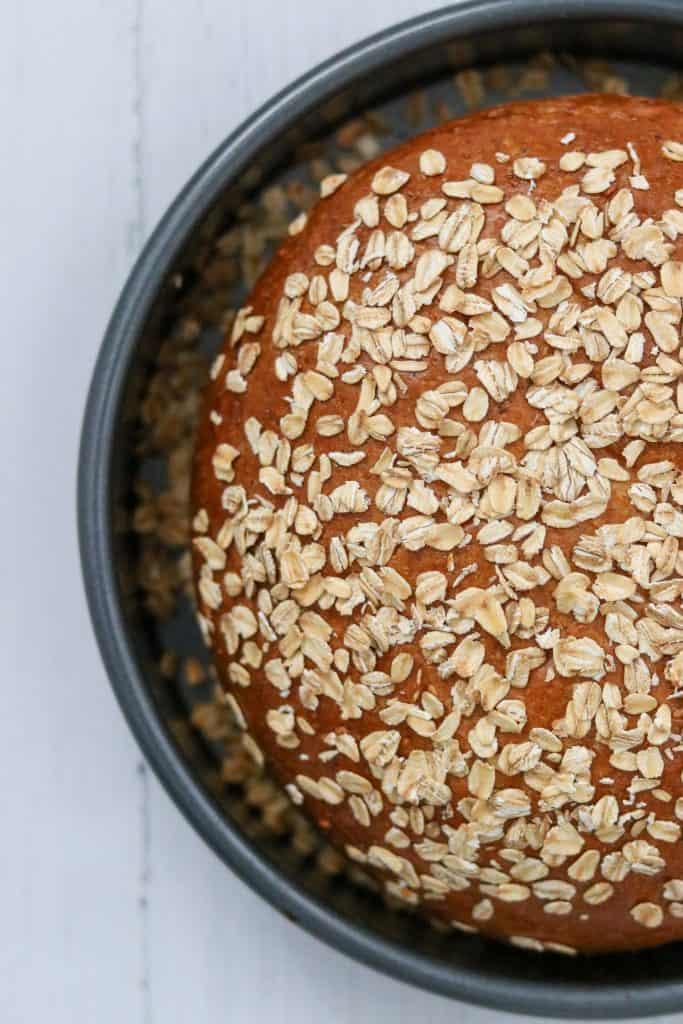 Baked oat bread in a pan