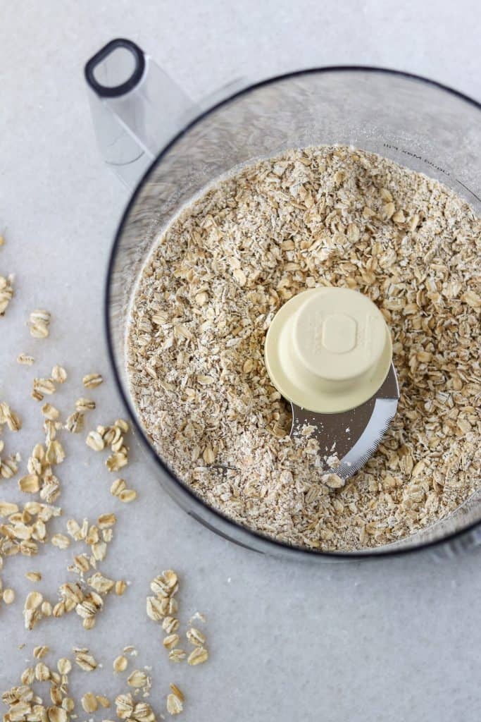 Oats in a food processor work bowl