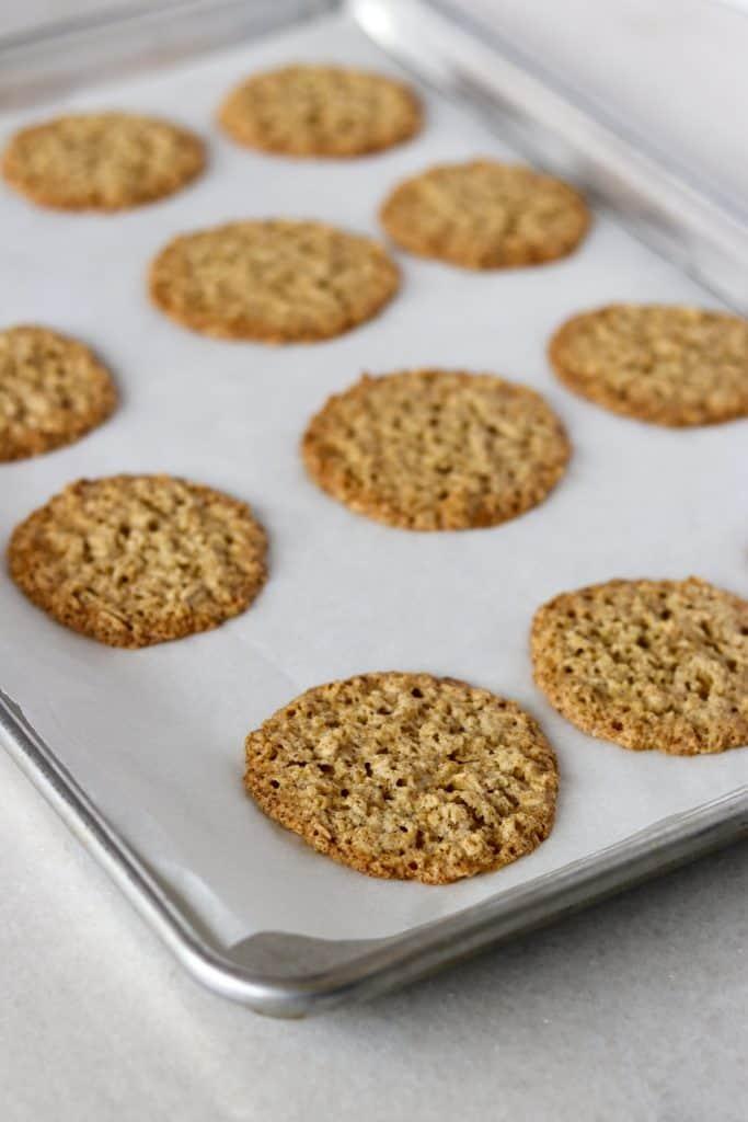 Oat cookies on a baking sheet