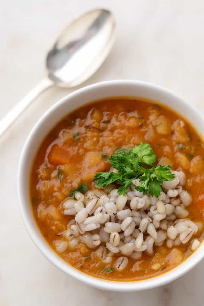 Vegetarian Split Pea Soup with Barley