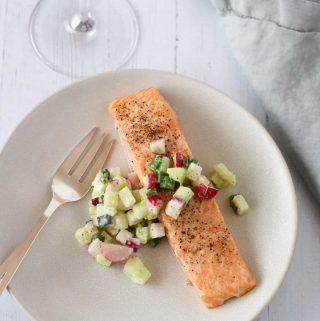 Roasted Salmon and Cucumber-Radish Relish