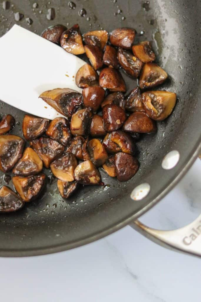 Glazed mushrooms in a pan