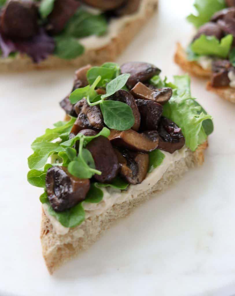 Balsamic-Glazed Mushroom Smørrebrød with White Bean Purée
