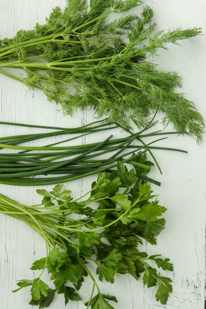 A close up of dill, chives and parsley