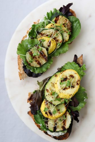 Grilled Summer Squash Smørrebrød with Basil Mayonnaise
