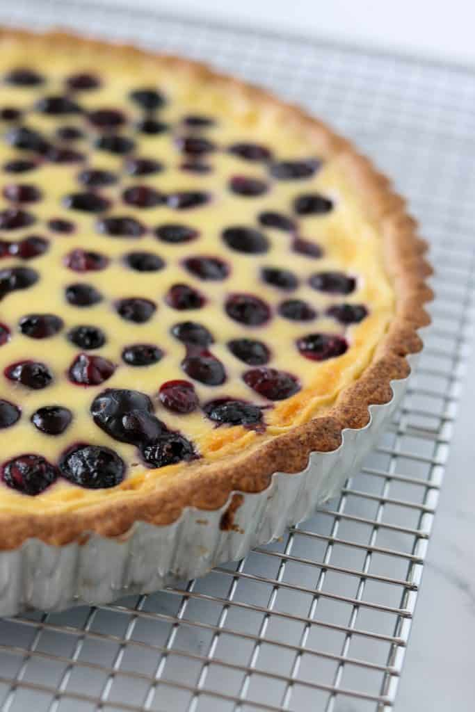 Closeup of a blueberry tart on a cooling rack