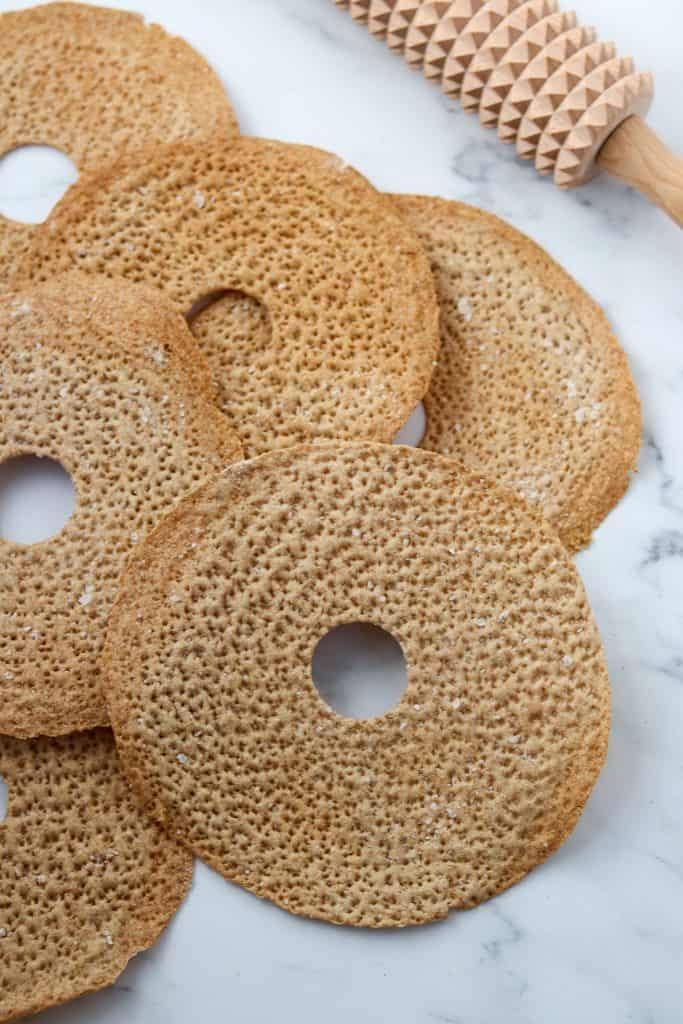 A close up of a crispbread