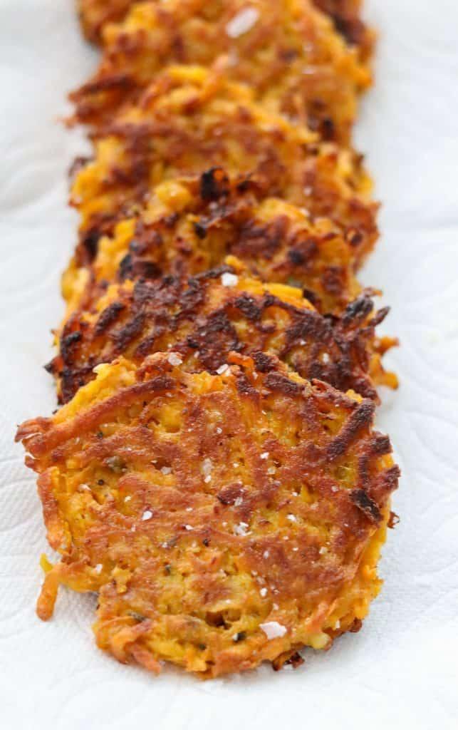 Sweet Potato Pancakes on a paper towel