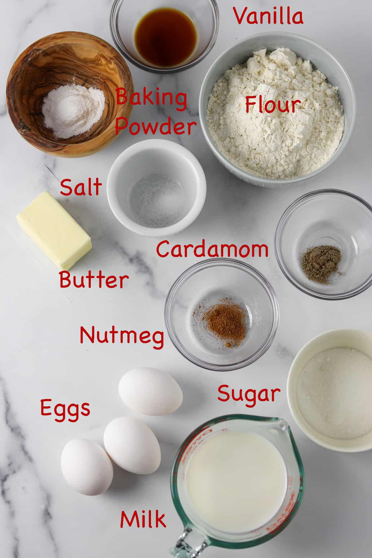 Labeled ingredients for æbleskivers.