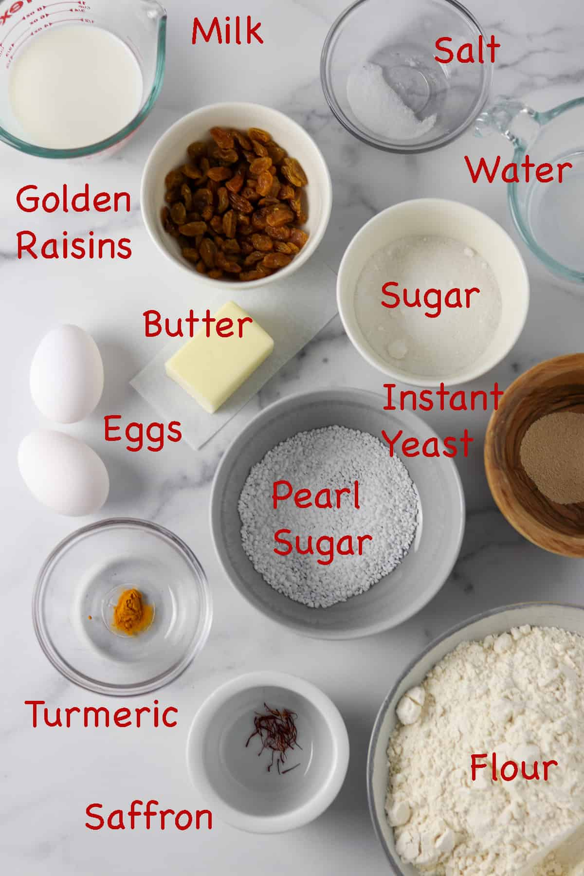 Labeled ingredients for St. Lucia Buns.