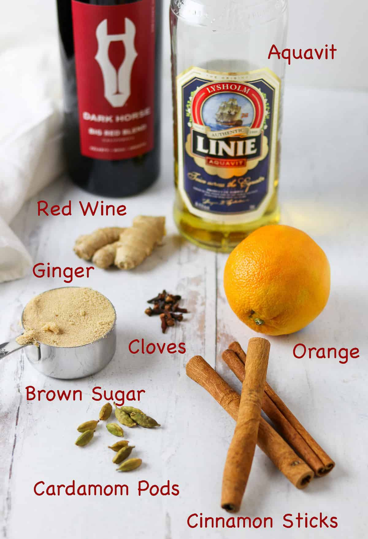 Ingredients to make glögg.