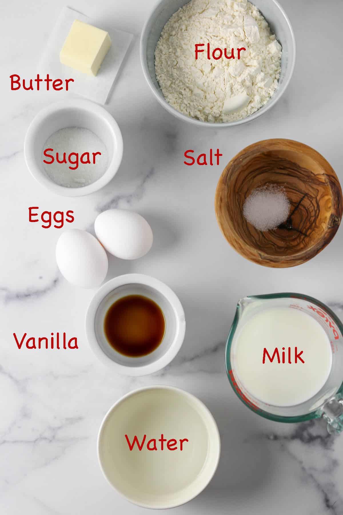 Ingredients for Swedish pancakes.