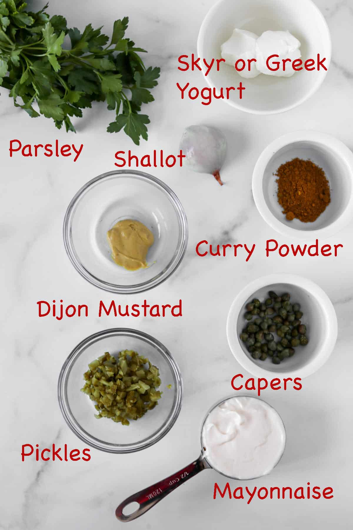 Labeled ingredients for Easy Danish Remoulade.