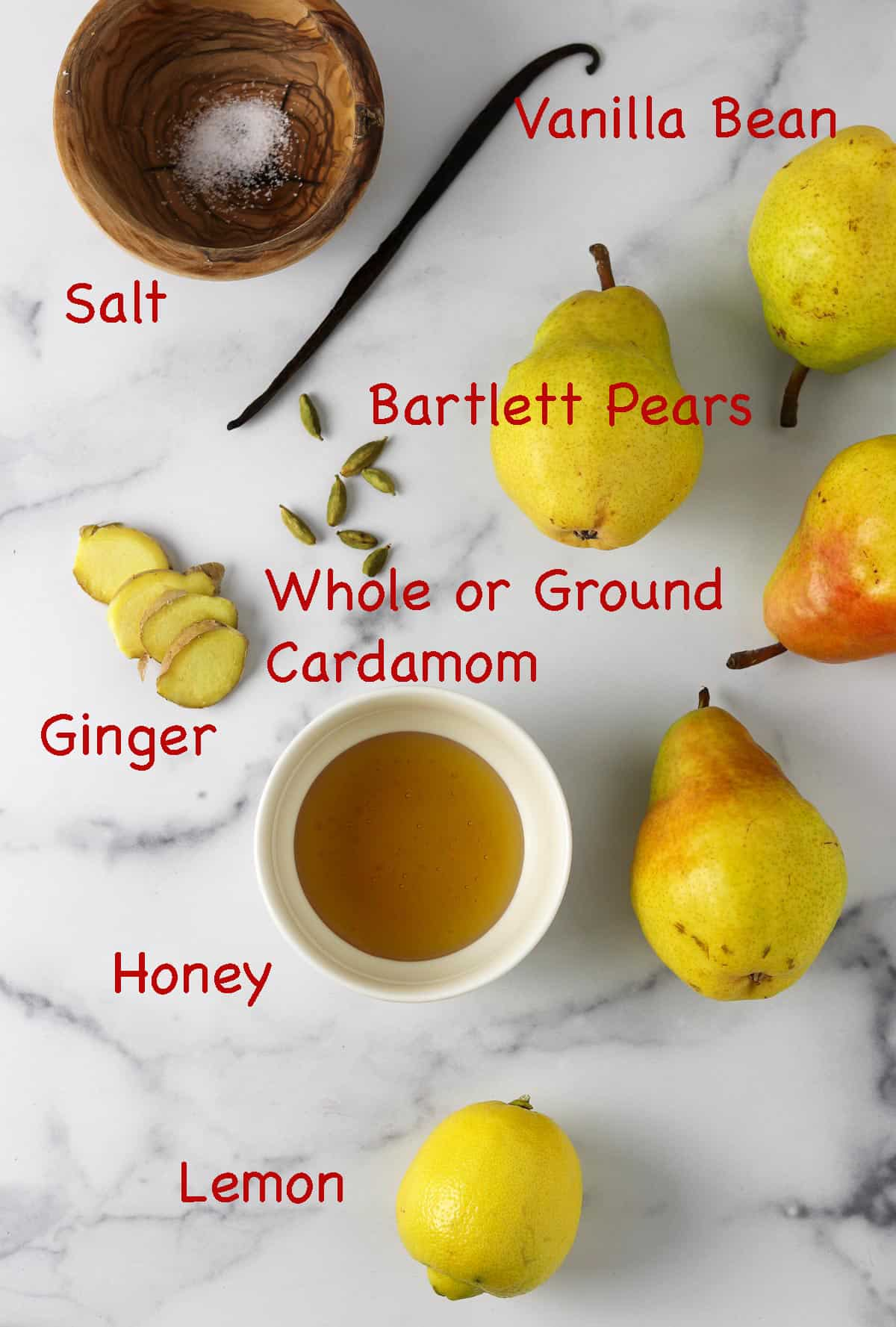 Labeled ingredients for Roasted Pear Compote.