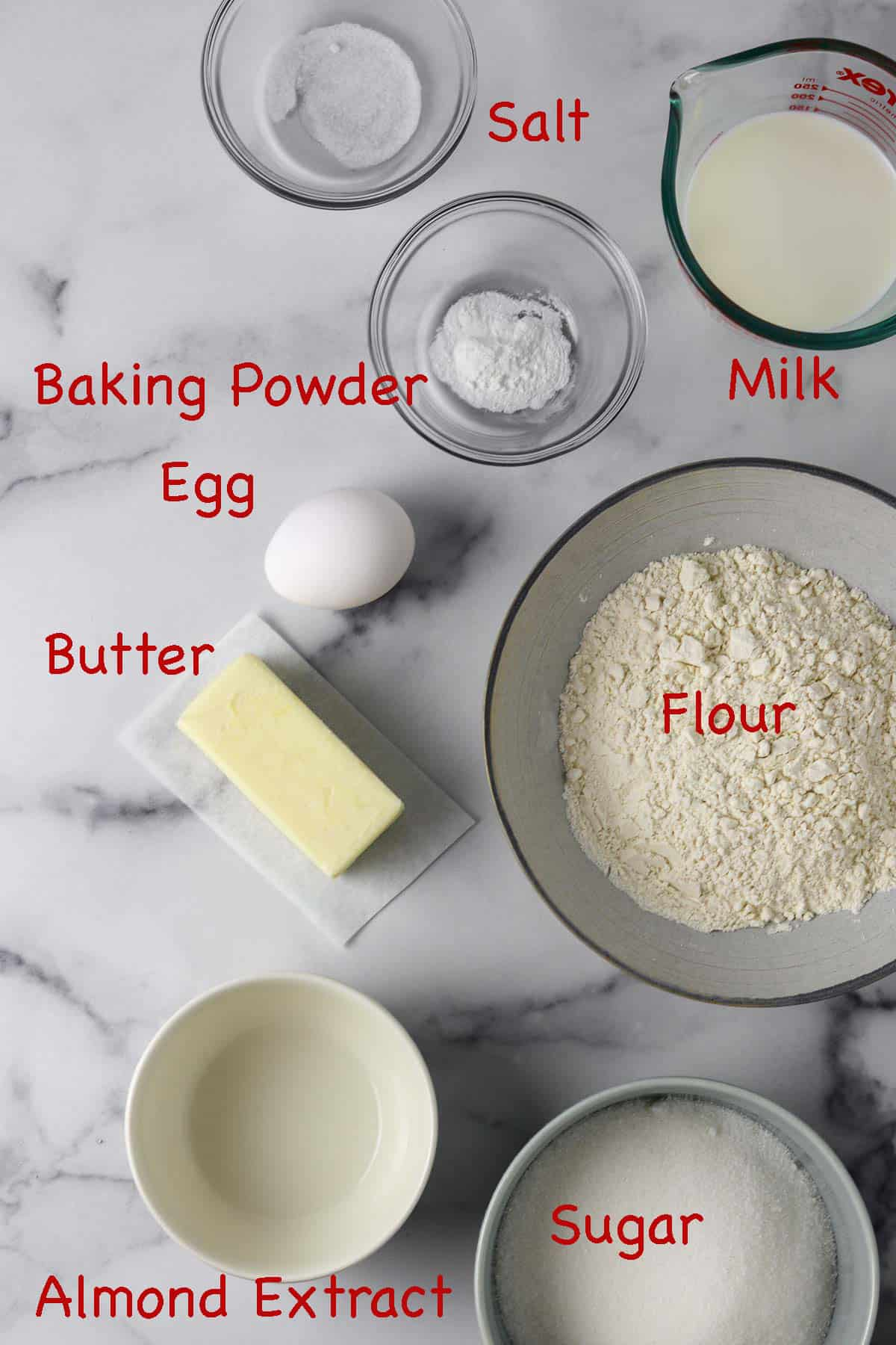 Labeled ingredients for Swedish Almond Cake.