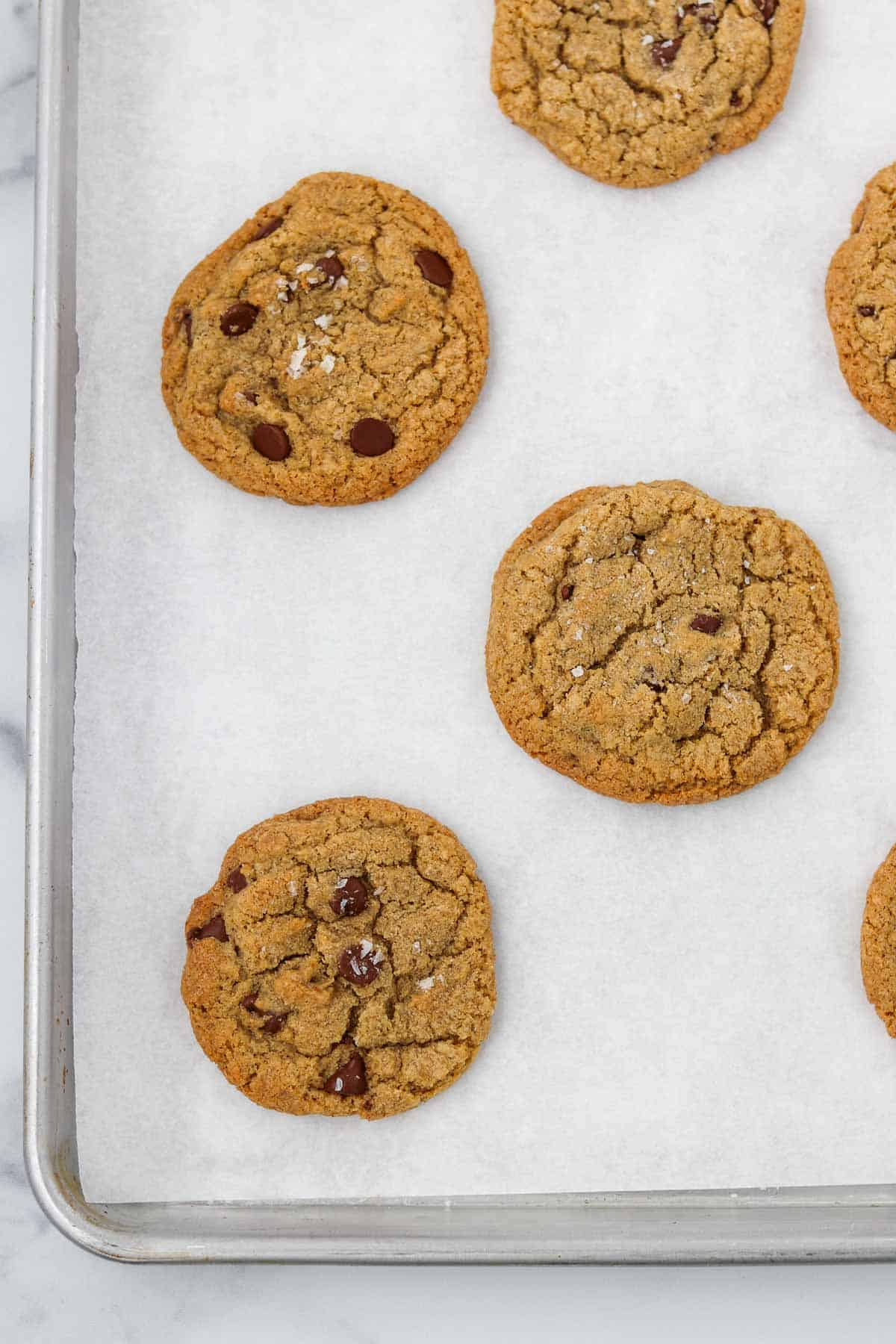 Chocolate chip cookies on a baking sheet.