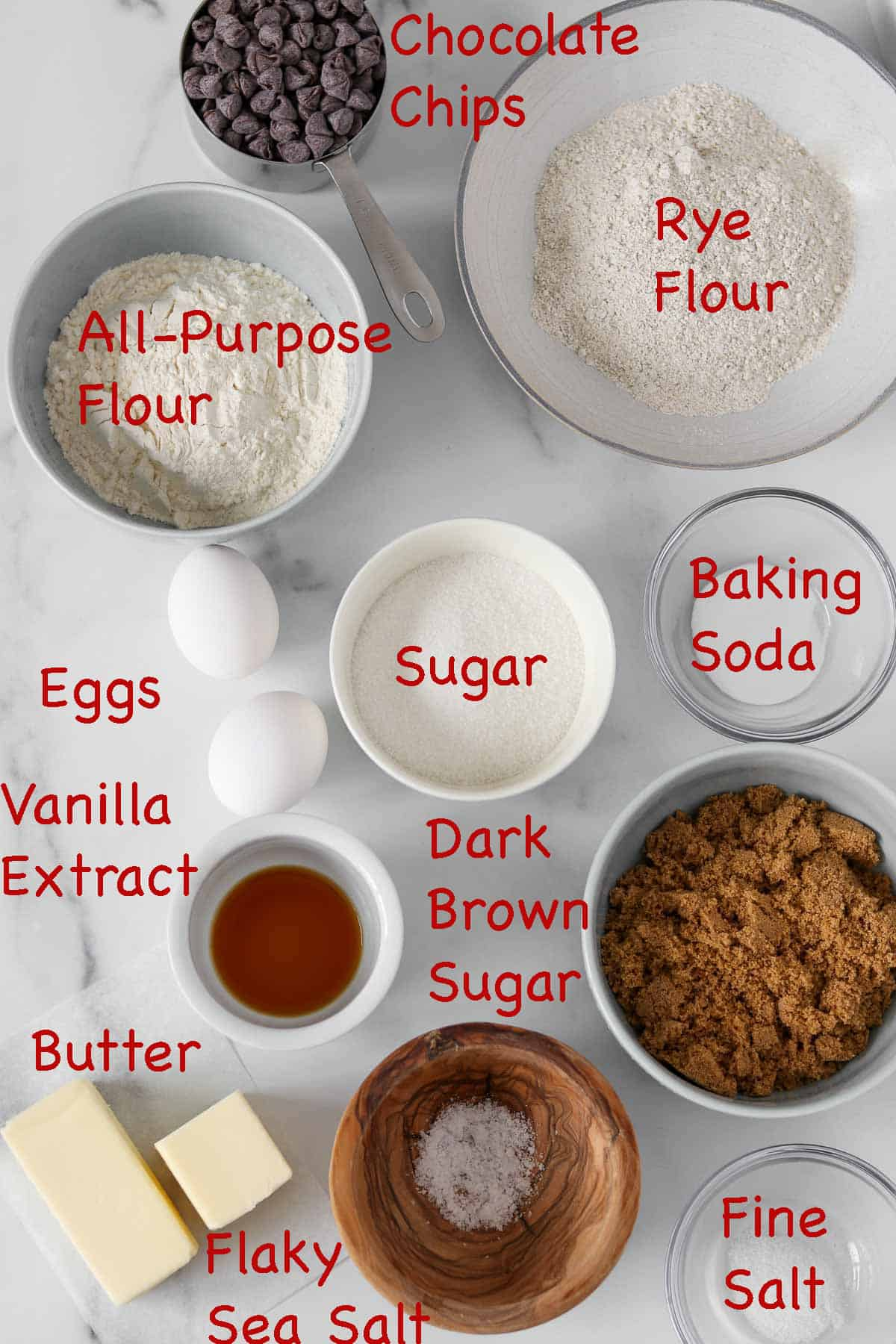 Labeled ingredients for Rye Chocolate Chip Cookies.
