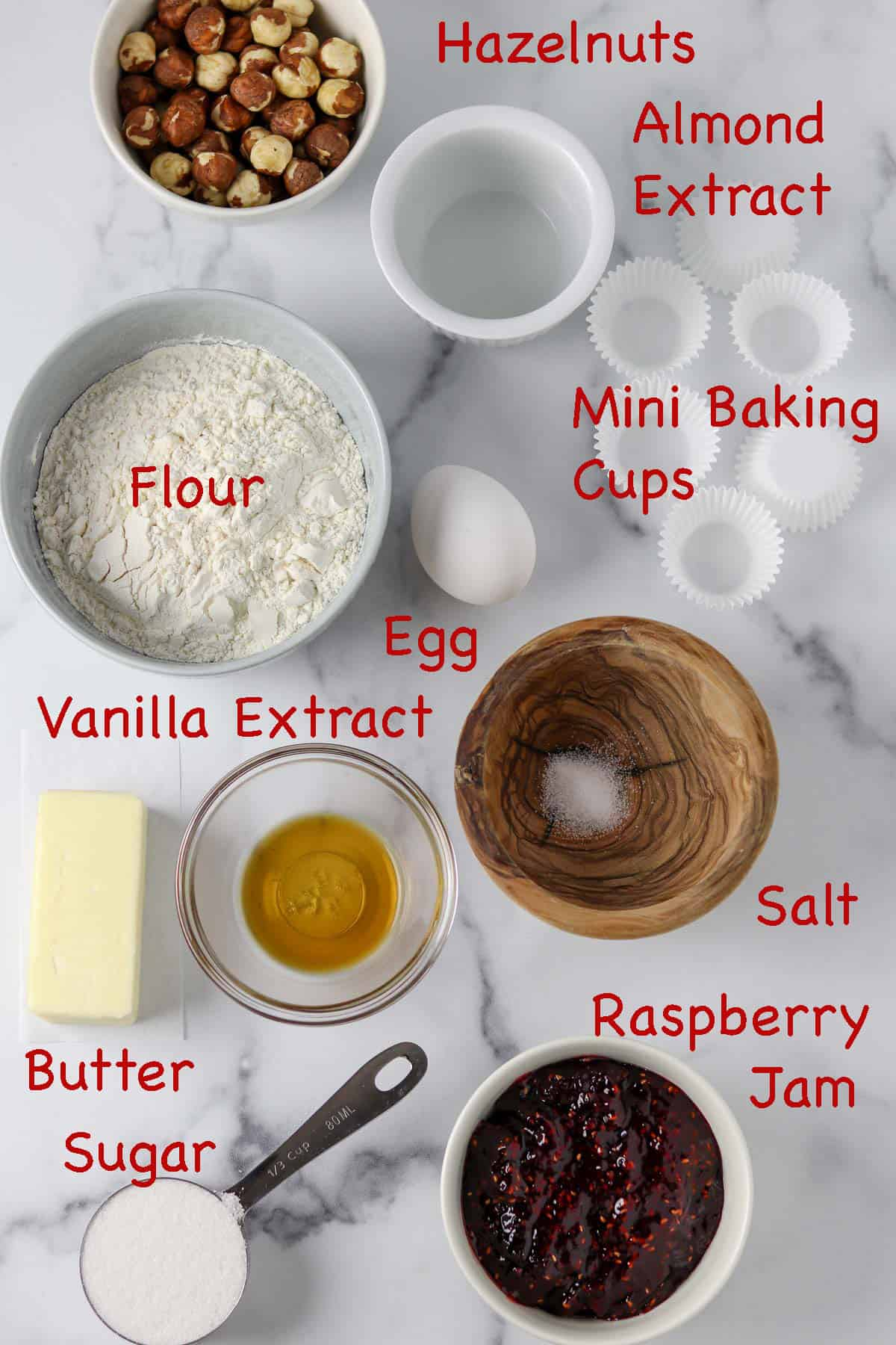 Labeled ingredients for Raspberry Hazelnut Thumbprints (Hallongrottor)