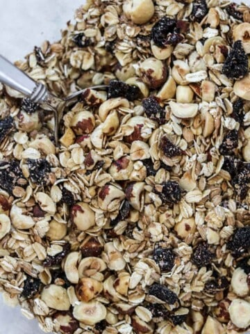 Close up of Rye and Oat Muesli with Dried Cherries and Hazelnuts.
