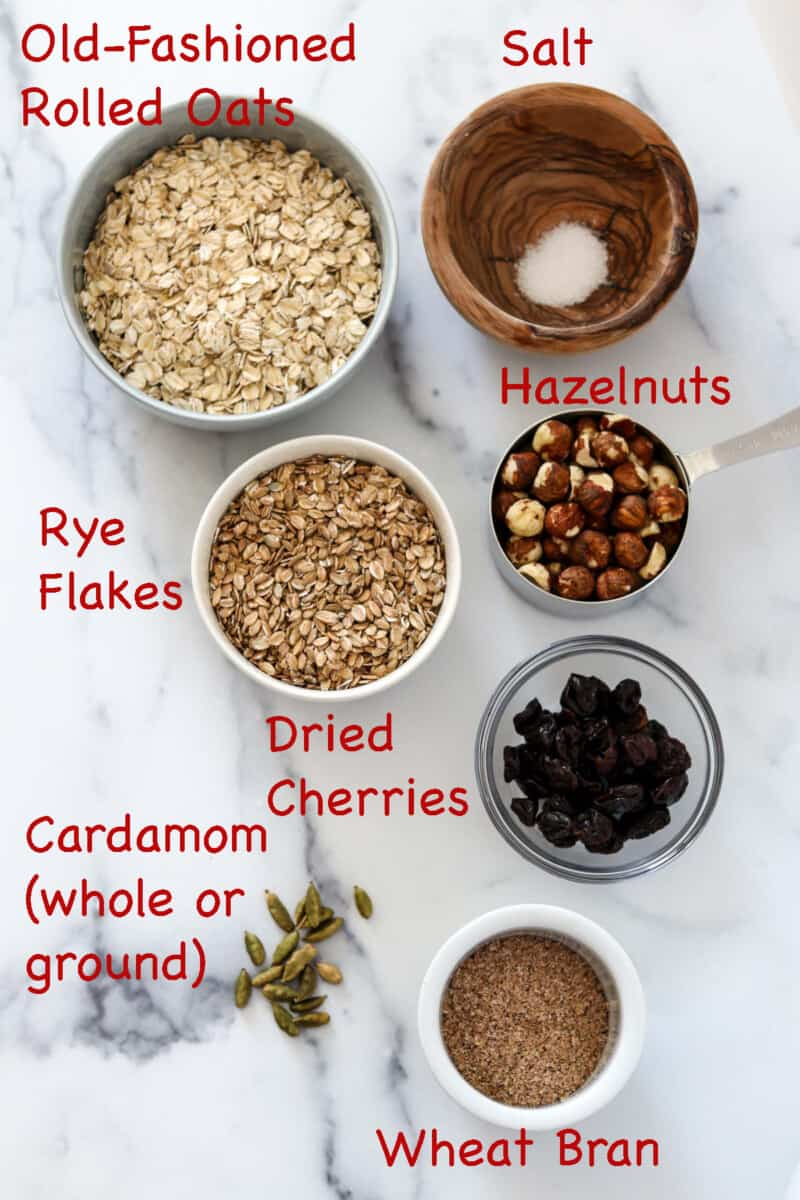Labeled ingredients for Rye and Oat Muesli with Dried Cherries and Hazelnuts.