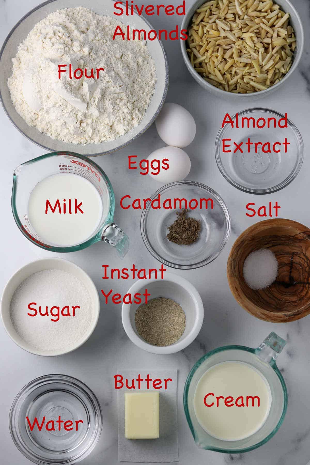 Labeled ingredients for semlor.