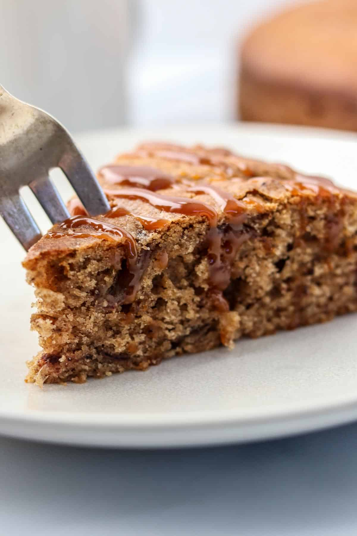 A close up of Spice Cake with Dates and Rye on a plate.