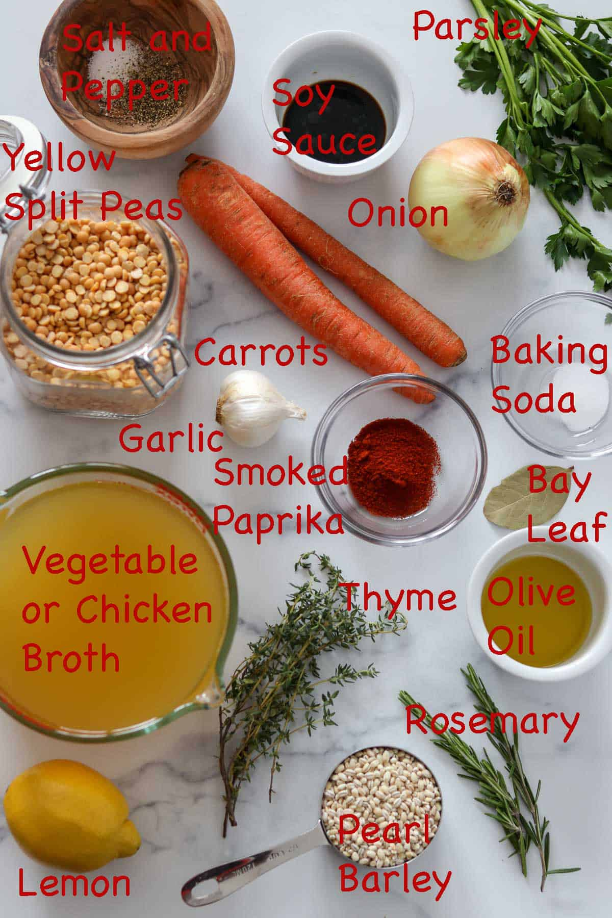 Labeled ingredients for Easy Vegetarian Split Pea Soup with Barley.