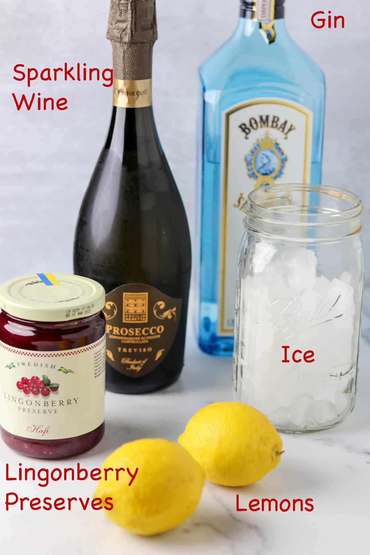Labeled ingredients for the Swedish 75 cocktail.
