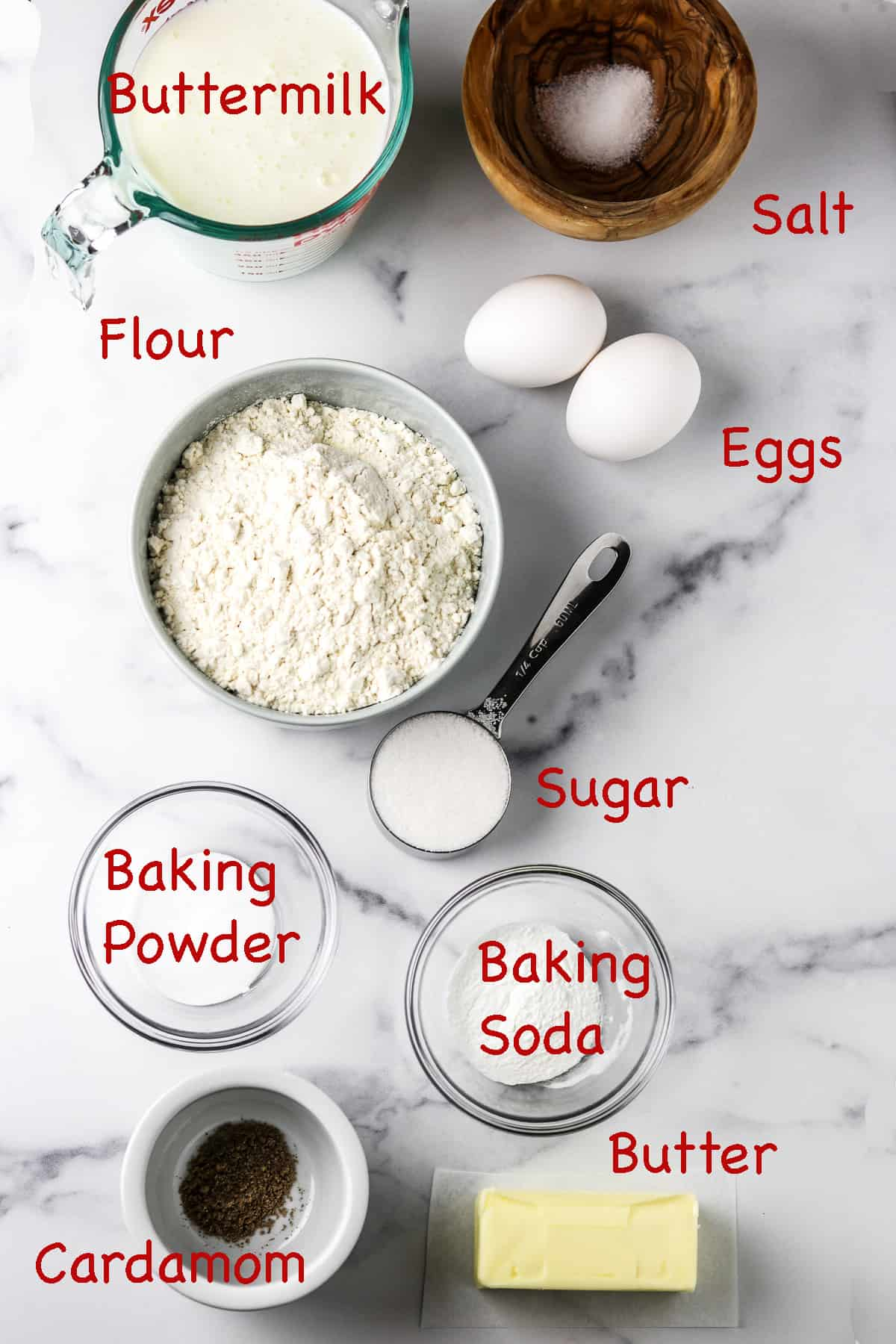 Labeled ingredients for Nordic Buttermilk Waffles.
