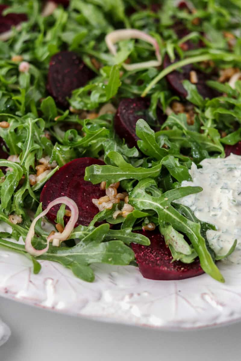 Close up of Roasted Beet Salad on a platter