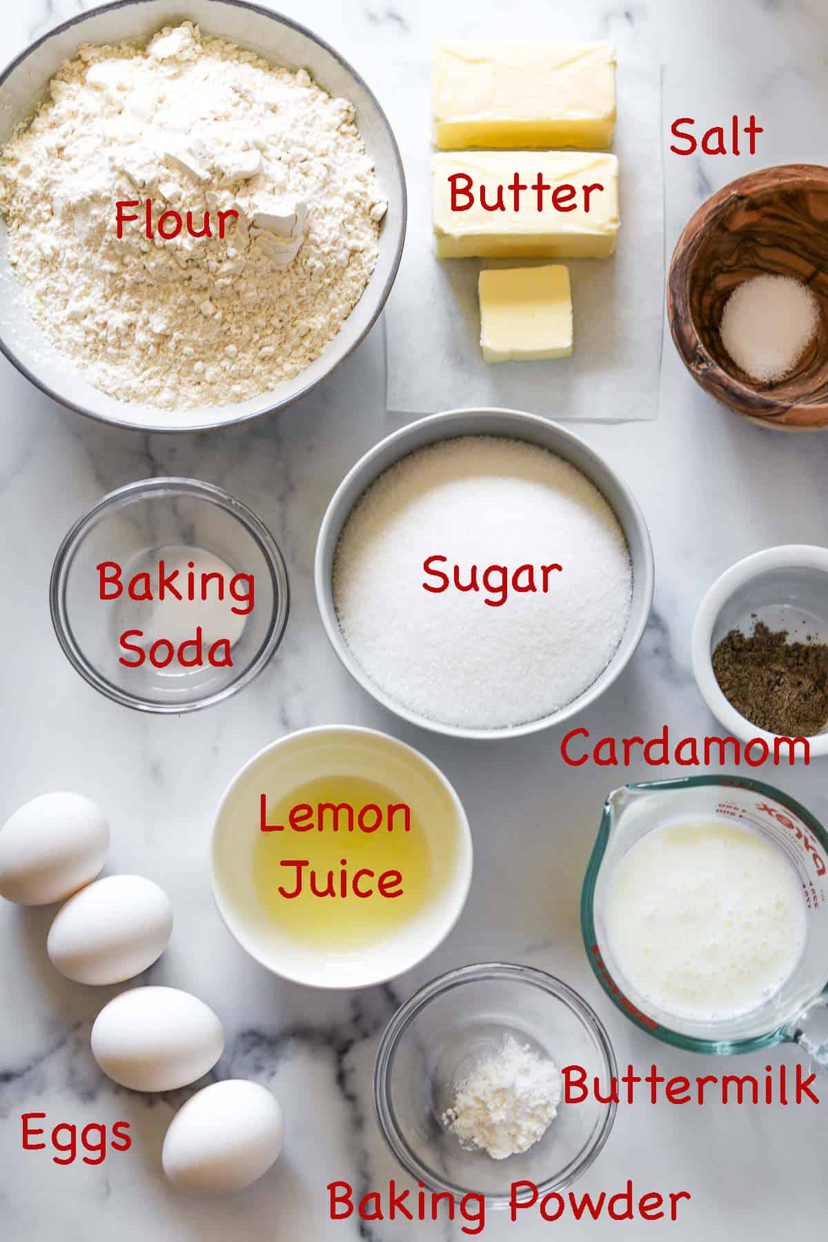 Labeled ingredients for Cardamom Cake.
