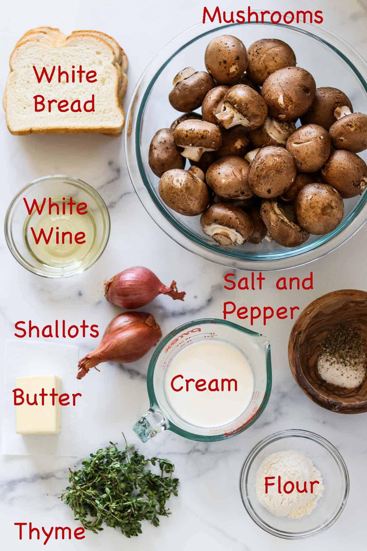 Labeled ingredients for Mushroom Gratin.
