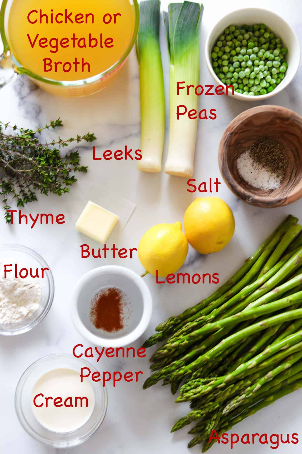 Labeled ingredients for Creamy Asparagus, Leek and Pea Soup.