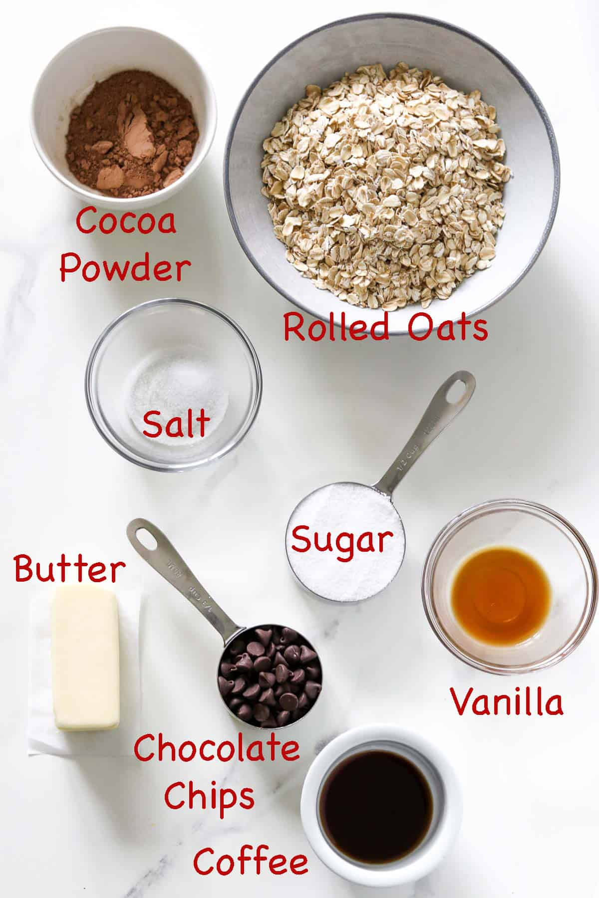 Labeled ingredients for No Bake Swedish Chocolate Oat Balls.