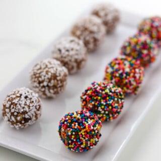 No Bake Swedish Chocolate Oat Balls on a plate.