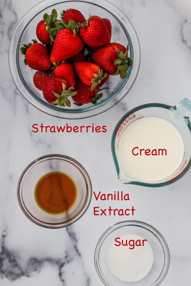 Labeled ingredients for Scandinavian Strawberry Cream Cake.
