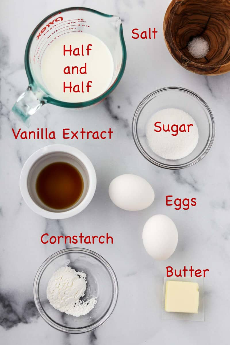Labeled ingredients for pastry cream.