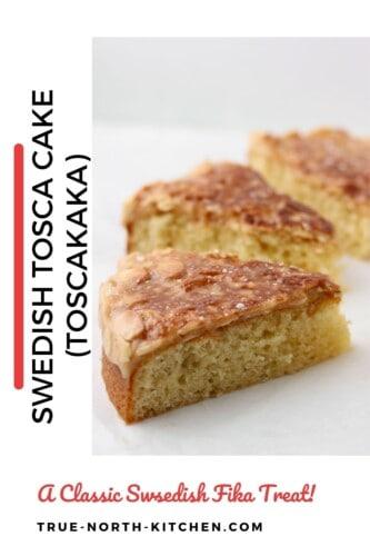 Slices of Swedish Tosca Cake (Toscakaka).