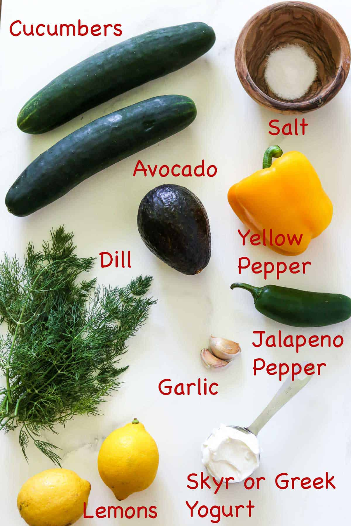 Labeled ingredients for Chilled Cucumber Soup